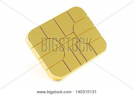 Credit Card Chip or SIM card chip 3D rendering isolated on white background