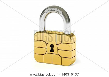 Credit Card Chip Security concept 3D rendering isolated on black background