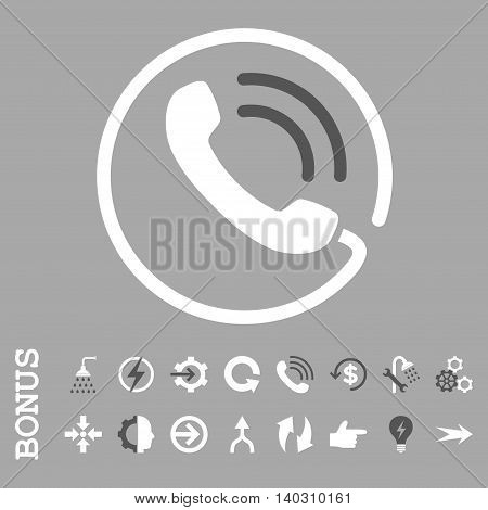 Phone Call glyph bicolor icon. Image style is a flat iconic symbol, dark gray and white colors, silver background.
