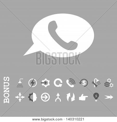 Phone Message glyph bicolor icon. Image style is a flat iconic symbol, dark gray and white colors, silver background.