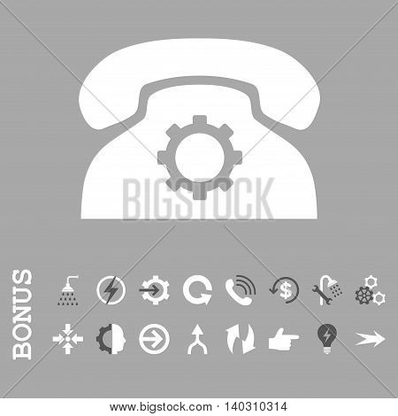 Phone Settings glyph bicolor icon. Image style is a flat pictogram symbol, dark gray and white colors, silver background.