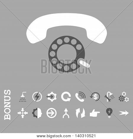 Pulse Dialing glyph bicolor icon. Image style is a flat iconic symbol, dark gray and white colors, silver background.