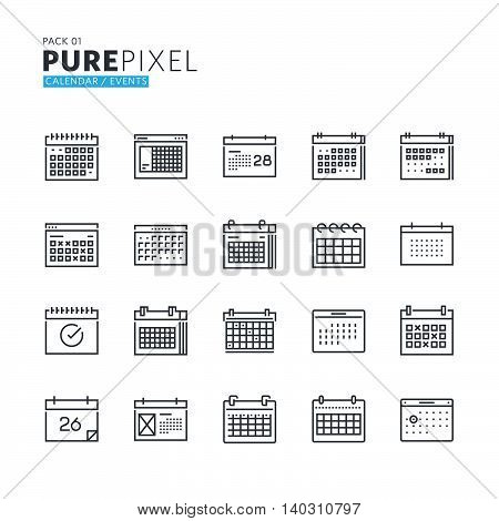 Set of modern thin line pixel perfect icons of calendar, events, news, schedule, reminder and organizer. Premium quality icon collection for web design, mobile app, graphic design.