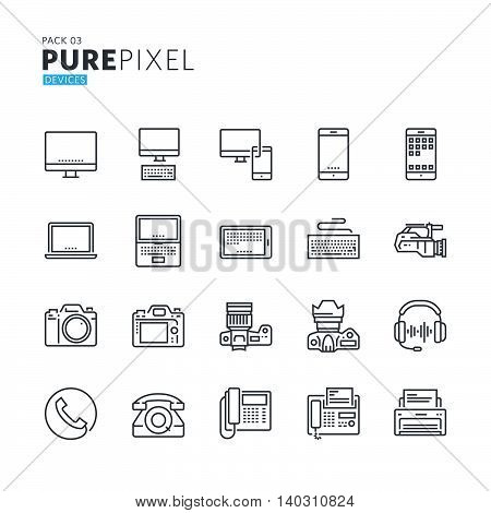 Set of modern thin line pixel perfect icons of electronic devices. Premium quality icon collection for web design, mobile app, graphic design.