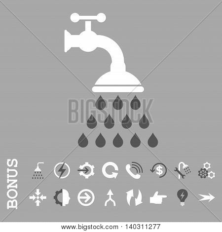 Shower Tap glyph bicolor icon. Image style is a flat pictogram symbol, dark gray and white colors, silver background.
