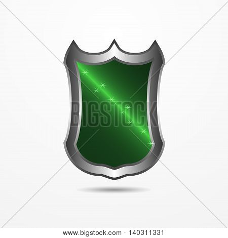 Vector realistic green shield with beams of light inside and stars.
