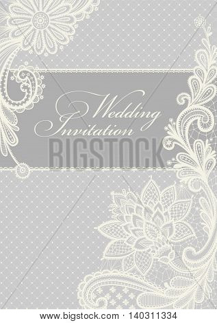 Wedding invitation. Lace background with a place for text. Vintage lace vector design.