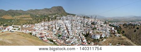 Panorama of the hillside town of Alora Andalucia Spain