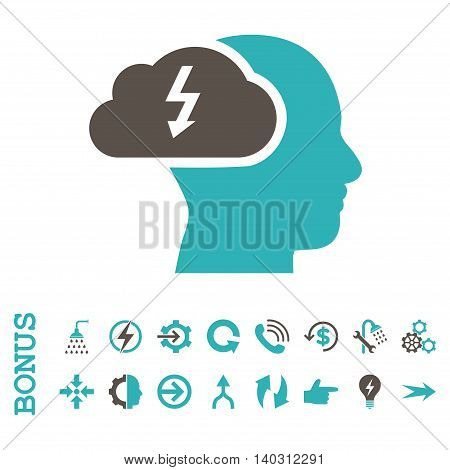 Brainstorming glyph bicolor icon. Image style is a flat iconic symbol, grey and cyan colors, white background.
