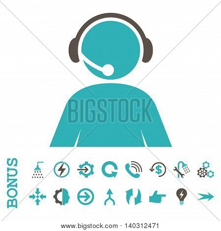 Call Center Operator glyph bicolor icon. Image style is a flat pictogram symbol, grey and cyan colors, white background.