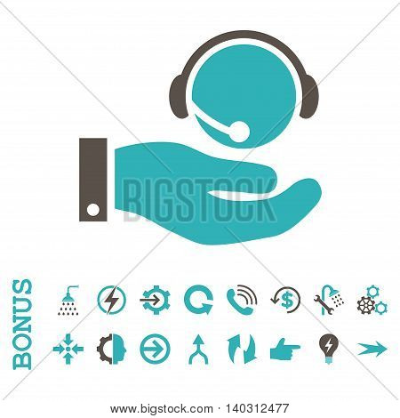Call Center Service glyph bicolor icon. Image style is a flat pictogram symbol, grey and cyan colors, white background.
