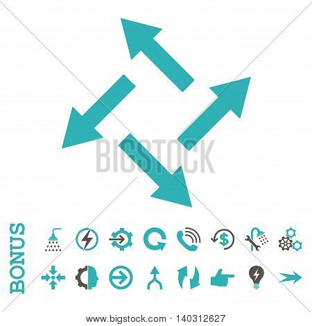 Centrifugal Arrows glyph bicolor icon. Image style is a flat pictogram symbol, grey and cyan colors, white background.