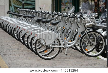Bicycles for rent in Verona city (Italy).