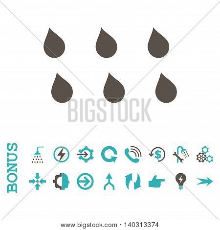Drops glyph bicolor icon. Image style is a flat pictogram symbol, grey and cyan colors, white background.