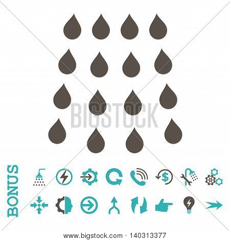 Drops glyph bicolor icon. Image style is a flat iconic symbol, grey and cyan colors, white background.