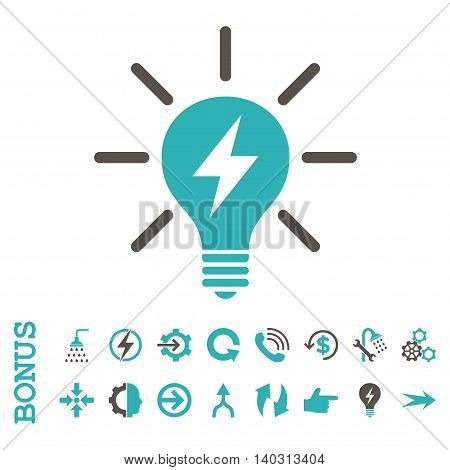 Electric Light Bulb glyph bicolor icon. Image style is a flat iconic symbol, grey and cyan colors, white background.