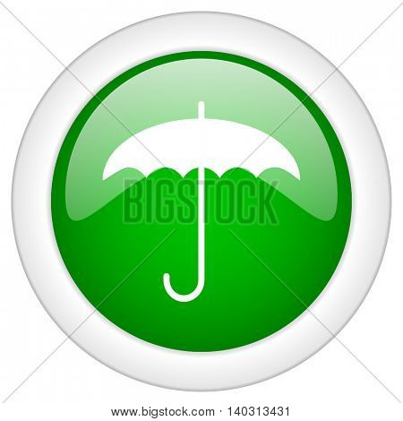 Green glossy web umbrella vector icon isolated on white bacground