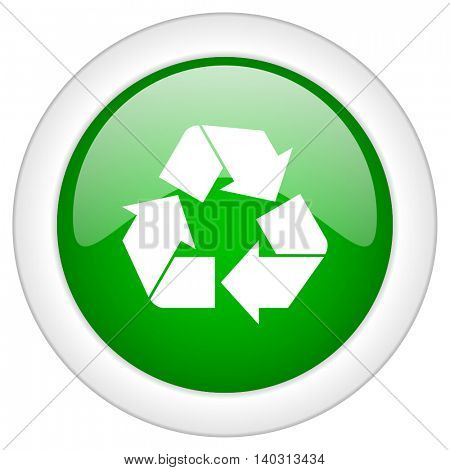 Green glossy web recycling vector icon isolated on white bacground