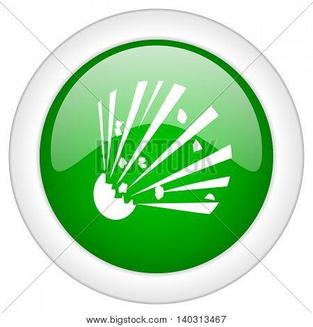 Green glossy web bomb vector icon isolated on white bacground