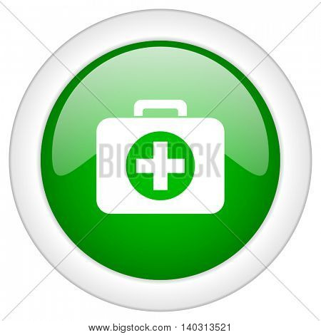 Green glossy web first aid vector icon isolated on white bacground