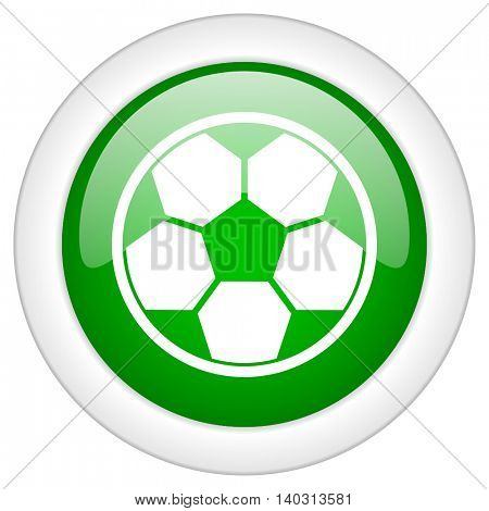 Green glossy web football vector icon isolated on white bacground