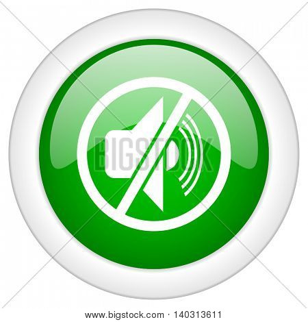 Green glossy web mute vector icon isolated on white bacground
