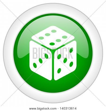 Green glossy web dice vector icon isolated on white bacground