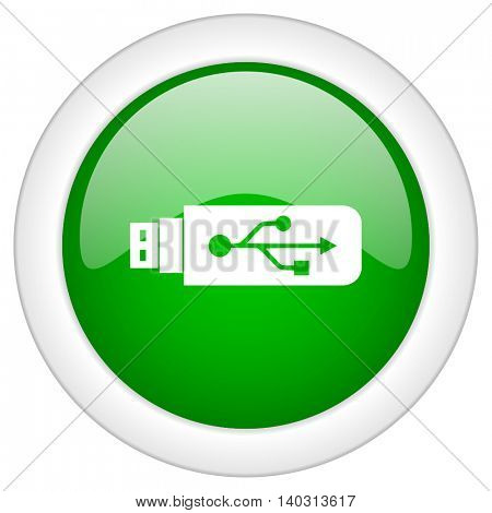 Green glossy web usb vector icon isolated on white bacground