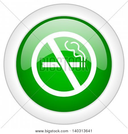 Green glossy web no smoking vector icon isolated on white bacground