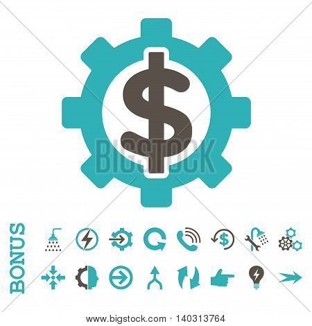 Financial Options glyph bicolor icon. Image style is a flat pictogram symbol, grey and cyan colors, white background.