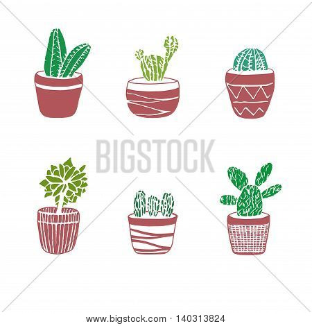 Hand drawn set of Cactus in the pots. Different types. Vector illustration in engraving style for decoration cards background wrapping and design.