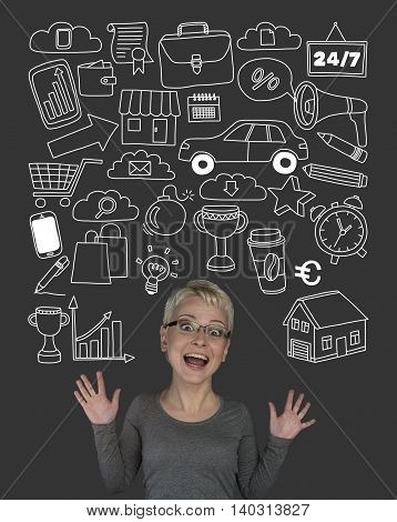 Woman with doodle elements Business and online shopping Hand drawn background