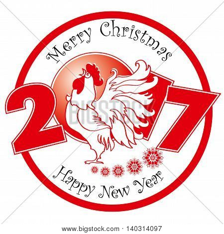 Rooster on white background. Chinese New Year of the Rooster. Red - symbol of 2017. Merry Christmas and Happy new year. Greeting card.