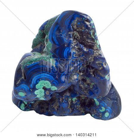 Blue Azurite gemstone isolated on white background