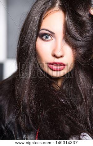 Portrait Of Pretty Surprised Brunette