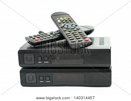 Digital TV electronics box, on white background