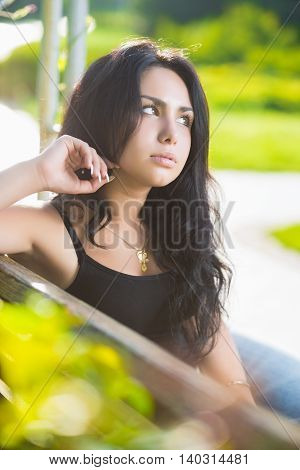 Portrait Of Pretty Thoughtful Brunette