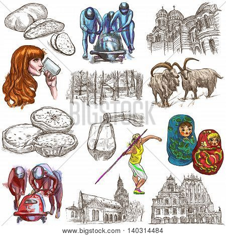 Latvia.Republic of Latvia.Pictures of life and travel collection of an hand drawn illustrations.Pack of full sized colored hand drawings.Set of freehand sketches.Line art technique.White background.