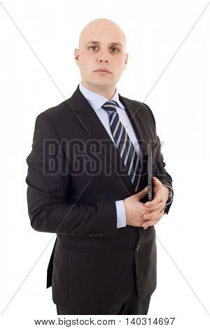 proud businessman with a tablet pc, isolated