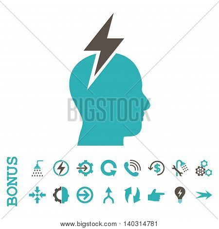 Headache glyph bicolor icon. Image style is a flat iconic symbol, grey and cyan colors, white background.
