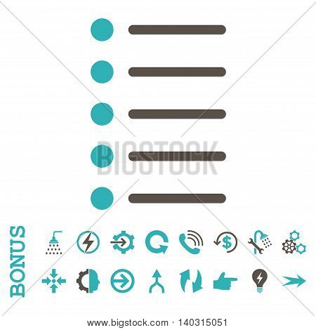 Items glyph bicolor icon. Image style is a flat pictogram symbol, grey and cyan colors, white background.