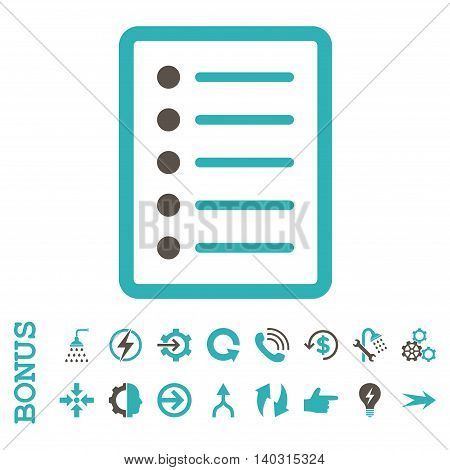 List Page glyph bicolor icon. Image style is a flat iconic symbol, grey and cyan colors, white background.