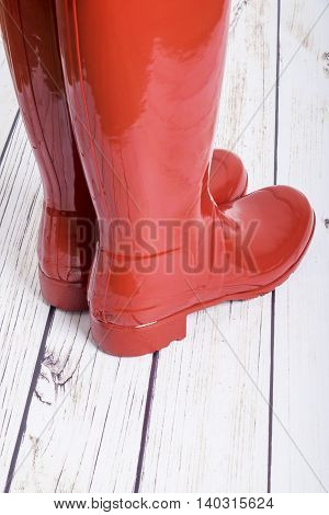 Women's Tall Red Shiny Rubber Boots Back View