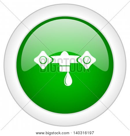 Green glossy round web water vector icon