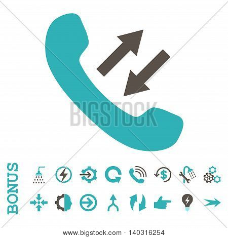 Phone Talking glyph bicolor icon. Image style is a flat iconic symbol, grey and cyan colors, white background.
