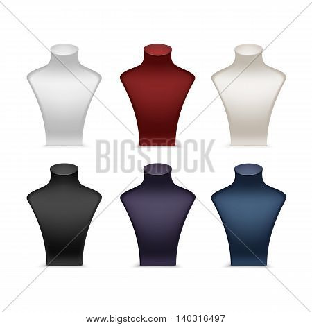 Vector Set of Colored White Red Black Blue Purple Necklace Mannequin Stand for jewelry Close up Isolated on White Background