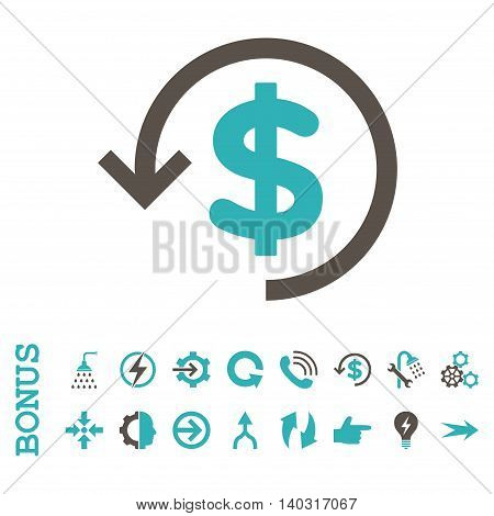 Refund glyph bicolor icon. Image style is a flat pictogram symbol, grey and cyan colors, white background.