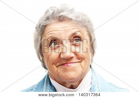 Old woman smile face. Grandmother on white