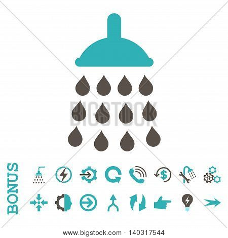 Shower glyph bicolor icon. Image style is a flat iconic symbol, grey and cyan colors, white background.