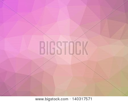 Abstract pink yellow gradient low polygon shaped background.